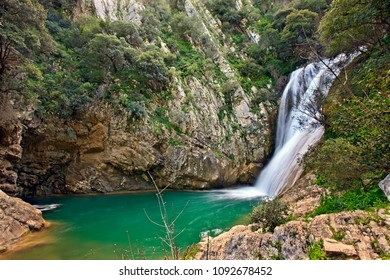 One of the many waterfalls at Polylimnio, a place of exceptional natural beauty at Messenia prefecture, Peloponnese, Greece