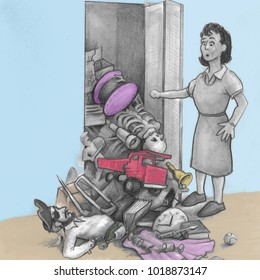 One mature woman opened a closet door and all her junk fell out and onto the floor. An illustrated  female finds a pile of things fell onto the floor from her closet.