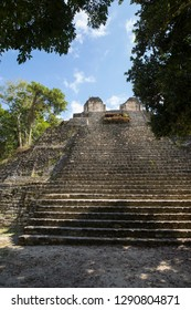 One of the Mayan temples in the Dzibanche complex near Costa Maya, Mexico.
