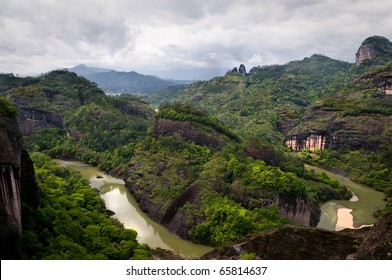 One meander of the nine-bend river neat Mt Wuyi in Jiangxi Province, China