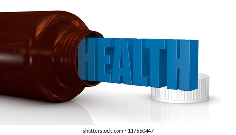 one medicine bottle with the text: health coming out of it (3d render)