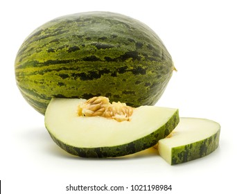 One melon Piel de Sapo with two halved round slices (Santa Claus Christmas variety) isolated on white background with seeds