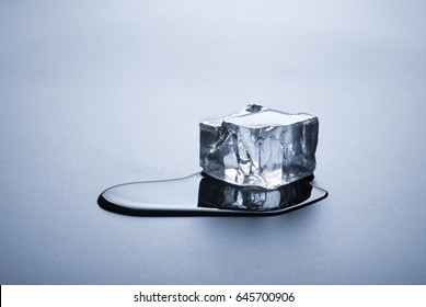 one melted ice cube with water puddle