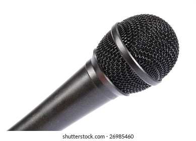 one microphone isolated on white background