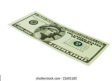 One million dollar bill isolated on white