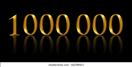 One million. Illustration of golden numbers on black background. Symbolic figure of being a millionaire and of earning the first million. Symbol expressed with yellow orange colored metallic numerals.