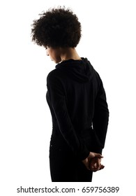 one mixed race african young teenager girl woman  sadness portrait  in studio shadow silhouette isolated on white background