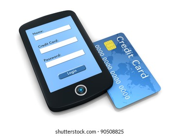 one mobile computer device with a credit card, concept of online shopping (3d render)