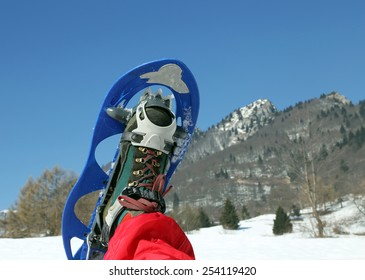 one modern snowshoe in the mountain