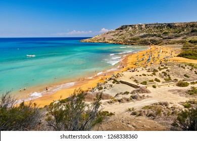 One of the most beautiful and popular beach called Ramla Beach on Gozo Island, Ramla Valley-Malta Europe, captured on 30th September 2018