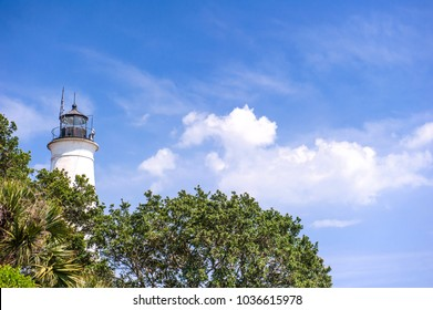 One of the most beautiful white tower of the St Marks lighthouse in St Marks Florida's Gulf Coast.