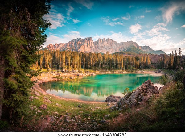 One of the most famous lakes in the Dolomites of Lago di Carezza