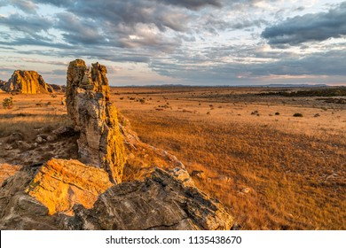 One of the most famous viewpoints of  Isalo National Park in the Ihorombe Region of Madagascar. Sandstone formation gain on its gold color under Malagasy sunset. August 2018