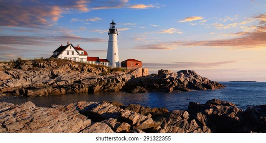 One Of The Most Iconic And Beautiful Lighthouses, The Portland Head Light Under Early Morning Skies, Portland, Maine, USA