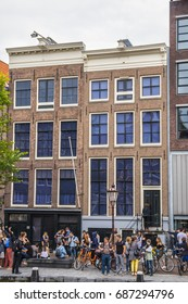 One of the most popular attractions in Amsterdam - the Anne Frank House and museum - AMSTERDAM / THE NETHERLANDS - JULY 20, 2017