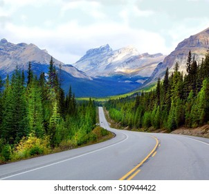 One of the most scenic roads to drive is the famous Icefields Parkway . A Journey through Banff National Park and Jasper National Park. It offers spectacular sightseeing around the Rocky mountains