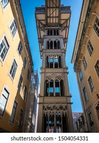 One of the most visited landmarks of Lisbon in Portugal, Elevador de Santa Justa seen from below.