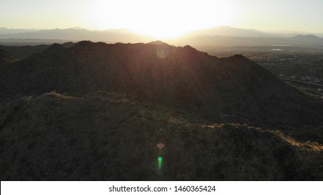 One mountain in the McDowell mountain regional park, in Arizona, during the sunrise