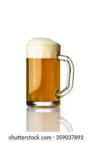 One mug of beer isolated on white background