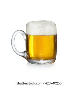 one mug fuul of fresh beer on white background with cut path