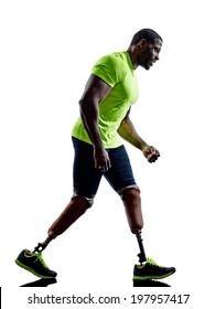 one muscular handicapped man with legs prosthesis in silhouette on white background