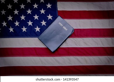 One Nation Under God. American Flag and King James Bible.