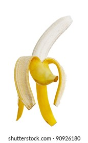 One natural ripe banana on white surface.