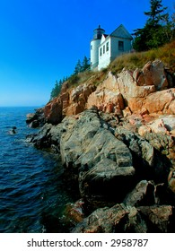 One of New England's landmarks, the lighthouse at Acadia National Park, Bar Harbor, Maine.