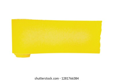 One new roll of yellow abrasive sandpaper for grid wood or metal items isolated on white background. Top view. Clipping path - image