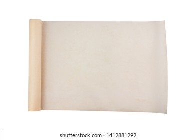 One new unfolded roll of clean baking paper brown color isolated on white background. Top view