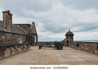 One O'Clock Gun at Mills Mount Battery inside Edinburgh Castle, popular tourist attraction and landmark of Edinburgh, capital city of Scotland, UK