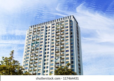 one older high-rise apartment building. live in high-rise