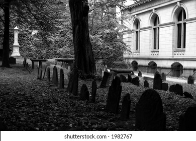 One of the oldest graveyards in america is in boston massachusetts, here is a scene from king's chapel cemetery  black and white