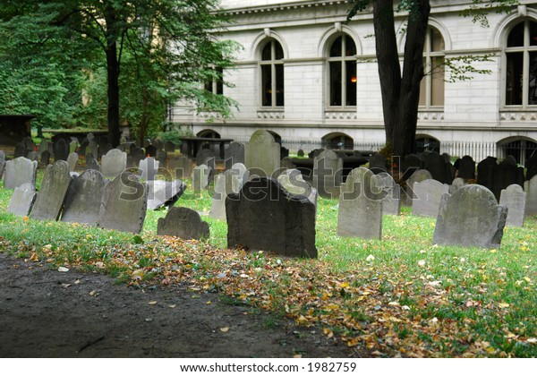 One of the oldest graveyards in america is in boston massachusetts, here is a scene from king's chapel cemetery