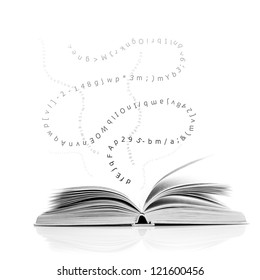 One open book with letters and number, education concept