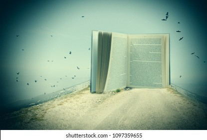 one open and isolated book is on a mountain with many birds - creative edit
