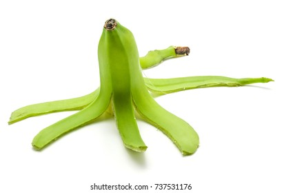 One open plantain isolated on white background green banana