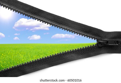 One open zipper with beatiful field isolated on white background