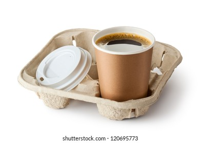 One opened take-out coffee in holder. Isolated on a white.