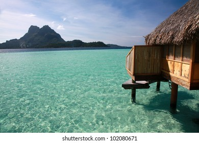 One of the over water bungalows on the French Polynesian island of Bora Bora