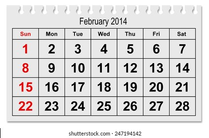one page of the annual calendar - month February 2015