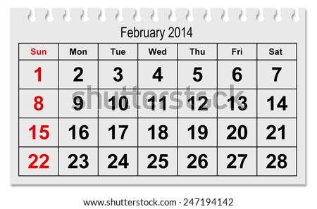 One Page Annual Calendar Month February Stock Photo Edit Now
