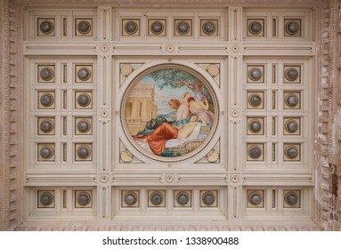 One of the painted coffered ceilings inside the main courtyard of Terme Tettuccio Spa in Montecatini Terme, Tuscany, Italy September 14th 2018