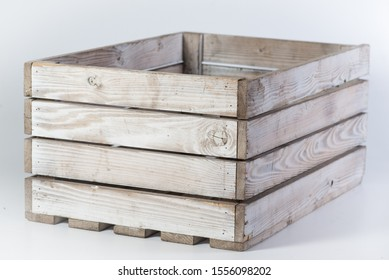 one painted white brown wooden box on a white background