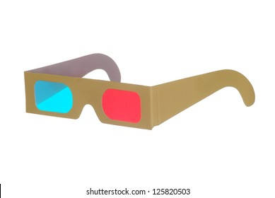 one pair of 3D glasses isolated on white background
