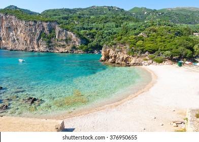 One of the Palaiokastritsa beach, Corfu island, Greece.