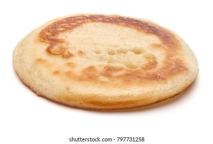One pancake isolated on white background cutout.