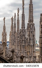 One part of famous Milan Cathedral, Lombardy, Italy. The famous spires.