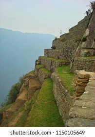 One part of the very steep wall of Machu Picchu