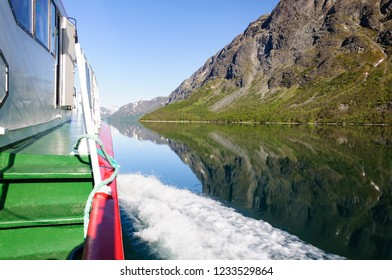 One a passenger boat crossing the big lake Gjende in Jotunheimen